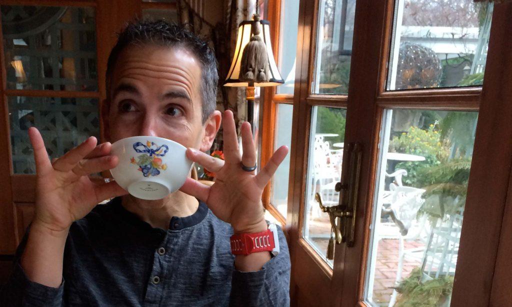 Chris Giovagnoni sipping tea at The Inn in Little Washington