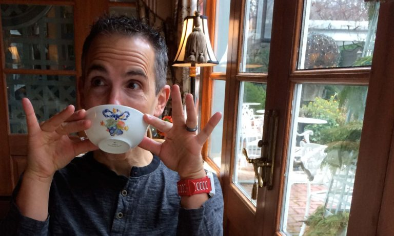 Chris Giovagnoni sipping tea at The Inn in Little Washington