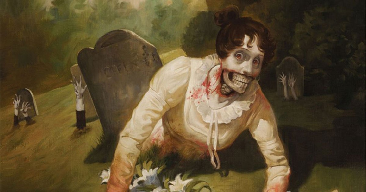 A painting of a zombie woman in 19th century dress climbing out of a grave.
